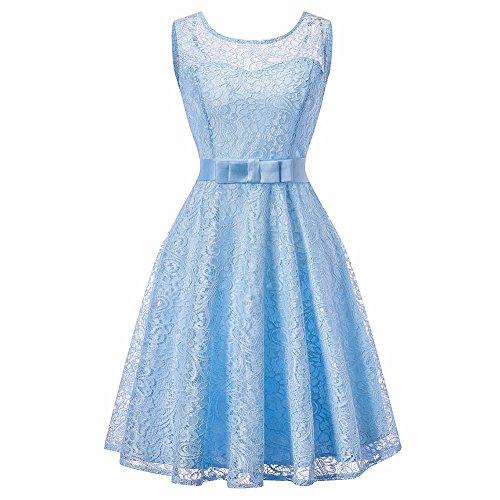 iShine Damen Kleid Frauen Rock mit Spitze Perspektive Rückenfrei Spitzenkleid Ärmellos Kleid Rundhals Rock Tailliert mit Gürtel Seidenband Hellblau (Kleider Eine Knie Der Linie Unterhalb)