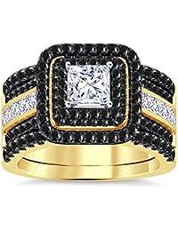 Silvernshine Enhancer Ring Guard & Engagement Ring Set Yellow Gold Plated Black Sim Diamonds