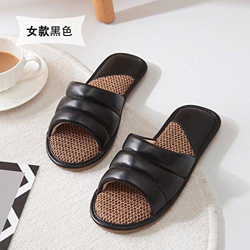 Raffreddare fankou pantofole uomini e donne indoor scivoloso primavera estate home home giovane pavimento in legno pu pantofole Weibliche Modelle schwarz