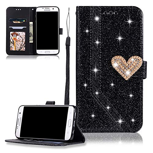 Slynmax Phone Case Compatible with Samsung Galaxy S7 Edge Glitter Love  Hardware Stitching Design Flip Wallet Cover with Card Slots Hand Strap  Stand