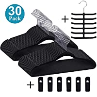 Premium Velvet Hangers/Suit Hangers Heavy Duty(30 Pack) - Non Slip & Space-Saving Clothes Hangers with 6 Finger Clips & Tie Rack Excellent for Men and Women(Black)