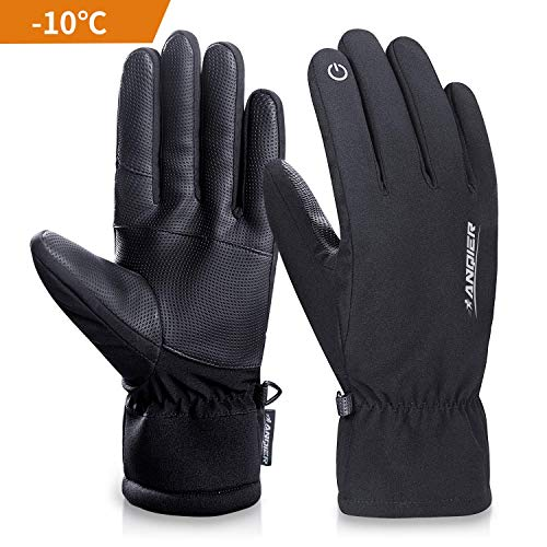 coskefy Winter Handschuhe Herren Damen Warm Touchscreen Fahrradhandschuhe 3M Thinsulate Arbeit Outdoor Sport Dick Fleece Winddicht Wasserdicht Skihandschuhe Wandern Camping(Schwarz-1,XL)
