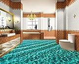Kuamai Fototapete 3D Bodenbelag Malerei Dazzling Unterwasserwelt Delfin Toilette Badezimmer Selbstklebende Boden Malerei Aufkleber-120X100cm