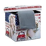 Relaxdays Faltbarer Sitzhocker Marilyn Monroe 38 cm stabiler Falthocker mit trendigen Motiven als praktische Ablage als Sitzwürfel mit bedrucktem Kunstleder als Aufbewahrungsbox mit Stauraum, New York