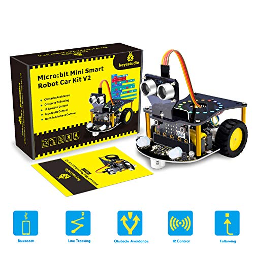 KEYESTUDIO Roboterkit STEM Robotics Kits für Kids bis zu programmierbarer für BBC Microbit Robots DIY Toy Car mit Tutorial Tracking Scientific Education (Ohne Micro bit) -