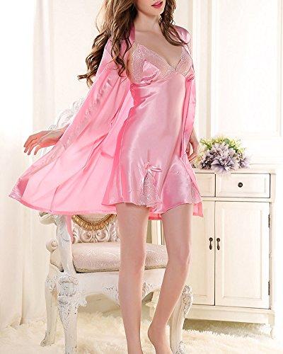 Ensemble 2Pcs Femme Peignoir en Satin Robe de Chambre Dentelle Col-V Chemise de Nuit Pyjama Pink Foncé