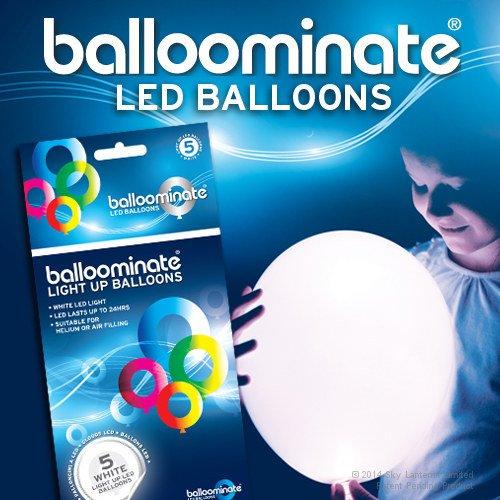 Blanco - 5 pack. Blancos de LED se encienden los globos Balloominate. Grande para las fiestas y celebraciones.