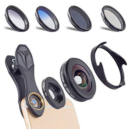 Apexel 6 in 1 Universal Clip-on Handy Kamera Objektiv Kit 0.6X Weitwinkel + 10X Makro Objektiv + 4 Filter für iPhone 6 / 6S Plus SE Samsung Galaxy S7 / S7 Edge S6 / S6 S8 und die meisten Smartphone -