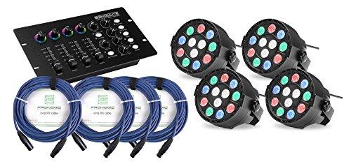 4x Showlite SPS-121 LED Smart Party Spot (3 rote, 3 grüne, 3 blaue und 3 weiße LEDs mit je 1 Watt Leistung, DMX Controller mit extra Farbdrehreglern, inkl. 3x 1m und 1x 10m DMX-Kabel) Schwarz