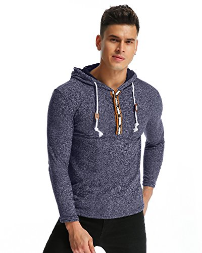 MODCHOK Herren Kapuzepullover Langarmshirt Hoodie Oversize T-Shirt Sweatshirt Hoody Fitness Blau