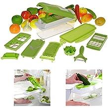 Générique Super Dicer Plus Découpe Fruits Légumes Aliments 12 Multi-Râpe épluche-légumes Nicer Slicer Hachoir conservation 1500 ml (Vert)