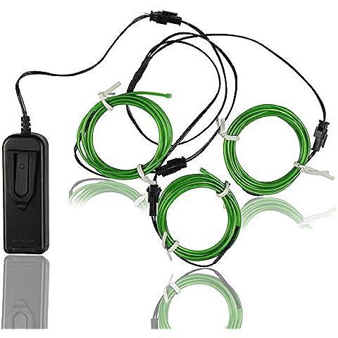 Alambre electroluminiscente (EL Wire) Splitter 3 X 1,5 Metros Resplandeciente efecto estroboscópico Neon Light Set