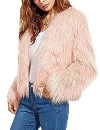 iBaste Corto Chaquetas de Pelo Mujer V-Cuello Abrigo Fur Jacket Parca Pelo Sintético…
