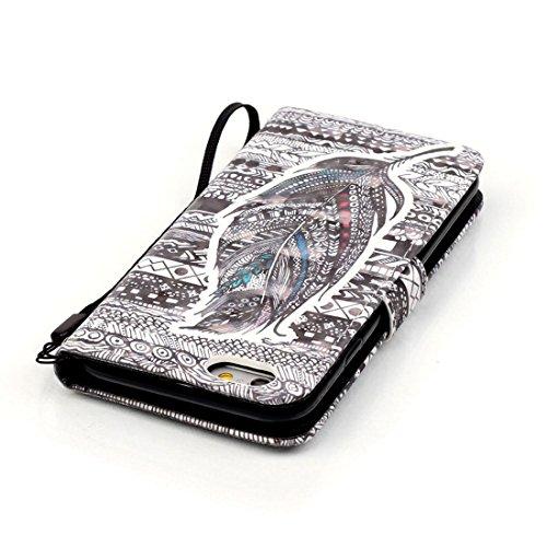 Yaking® Apple iPhone 6/6S Coque, PU Portefeuille Étui Coque Stand Flip Housse Couvrir impression Case Cover pour Apple iPhone 6/6S P-1