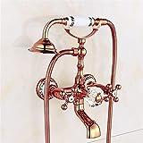 Luxus-Gold-Messing-Badezimmer-Hahn-Bad-Hahn-Mischer-Hahn-Wand-angebrachte Hand-Dusche-Kopf-Installationssatz-Dusche-Hahn-Sätze , 3