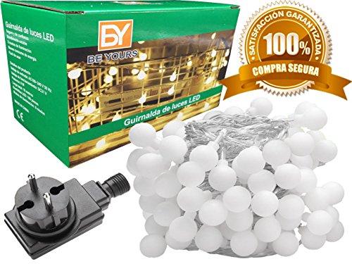 BeYours Guirnalda de Luces LED - Color Blanco Cálido - Cable de 12 metros 100 LED - Luces Para Jardin y Luces Decorativas Habitacion