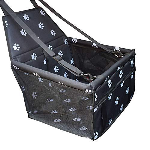 Yiuu Hunde Autositz Wasserdicht Hund Autositzbezug Autositz Portable Faltbar mit Clip-on Sicherheitsleine für Kleine und Mittlere Haustiere,Black