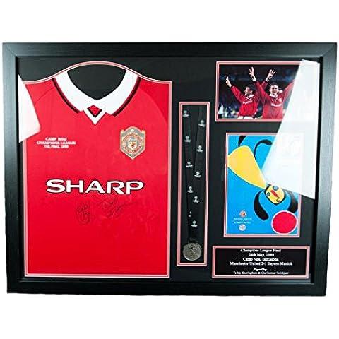 Manchester United F.C.–Sheringham e solsksjaer firmato Shirt Medaglia