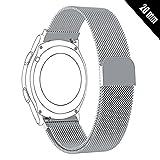 Shellong Uhrenarmband für Huawei Watch 2 Sport, Ticwatch 2, Samsung Gear S2 Classic/Sport, Nokia Withings Steel HR 40 mm Smartwatch, 20MM-ML2018, Silber, 20 mm