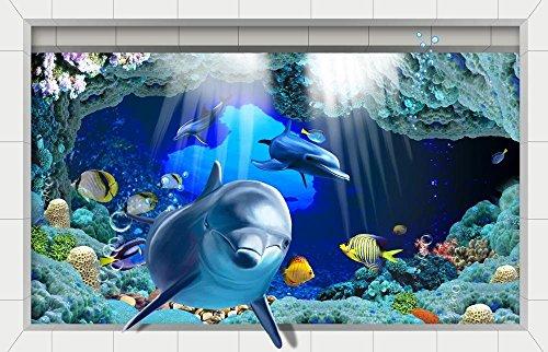 LXPAGTZ 3D Bad klebte HD Strand Wohnzimmer Flur Küche Esszimmer Badezimmer wasserdichte Anti-Rutsch selbst selbstklebende Aufkleber am Boden 900 * 580 mm (35,4 * 22,8 Zoll) #001 - 001 Stereo