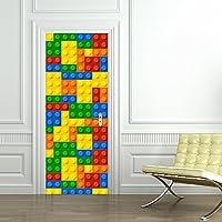 Yongqiang 3D Etiqueta De La Puerta Pegatina De Pared Sala Cuarto Decoración Mural Pegatina Lego para Niños Papel Pintado Auto-Adherente Desmontable,77X200cm