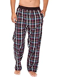 Mens Plaid Check Cool Polycotton Summer Pyjama Bottoms Lounge Wear Pants