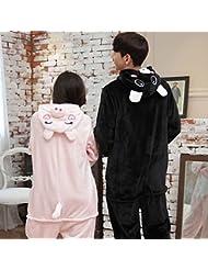 Unisex Pijamas para Adultos - Peluche de una Pieza Cosplay Animal Traje Invierno Espesamiento Ocio,Cerdo rosa,S