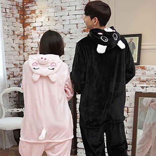 Schwein Weibliches Kostüm (HOMEE Unisex Adult Pyjamas - Plüsch One Piece Cosplay Tier Kostüm Winter Verdickung Freizeit,Rosa)