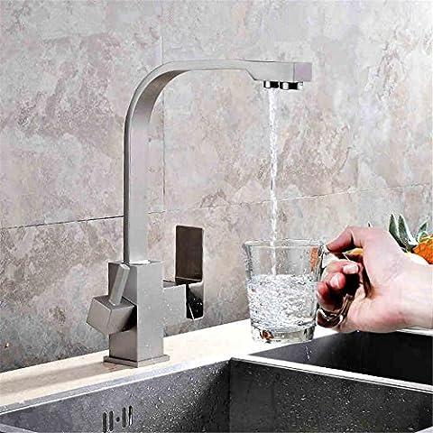 Modylee Filtro di alta qualità in ottone cucina rubinetto quadrato stile lavello Miscelatore nichel spazzolato rubinetto 3 modo acqua rubinetto