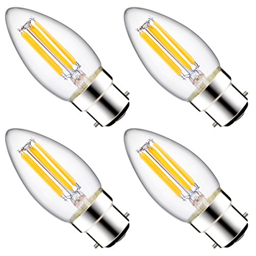 Luohaoshi LED Candle Filament Bulbs, Dimmable 6W C35 [60W Incandescent Replacement] Candelabra Bulbs For Decorate Home, Bayonet B22 Base, 600lm, Warm White 2700K, 330 Degree Beam Angle, 4-Pack