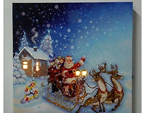 XYLUCKY Santa Claus beleuchtet Canvas Print Sonderlackierung mit LED-Licht Weihnachten Dekoration Landschaftsmalerei , 30*30