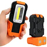 Lonshell Portátil Linterna,LED Luz de trabajo 200 lúmenes Multiuso MAZORCA Flash Base magnética Gancho para colgar,Baterías AAA(Baterías No Incluidas) - Para Acampar,Viajar,Usar En Casa