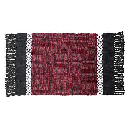 CDaffaires Tapis Rectangle 50 x 80 cm Coton Jacquard cuzco Rouge