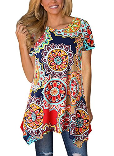 FIYOTE Womens Short Sleeve Floral Print Irregular Hem Asymmetrical Loose Tunic Long Blouse Tops