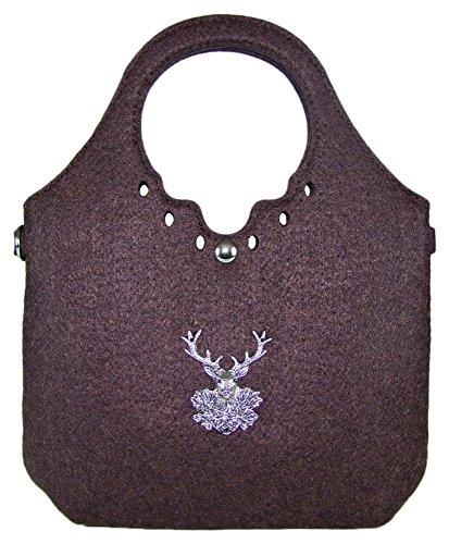 Trachtenland - Trachtentasche kleiner Shopper mit Edelweiß oder Hirsch Applikation Hirsch - Dunkelbraun