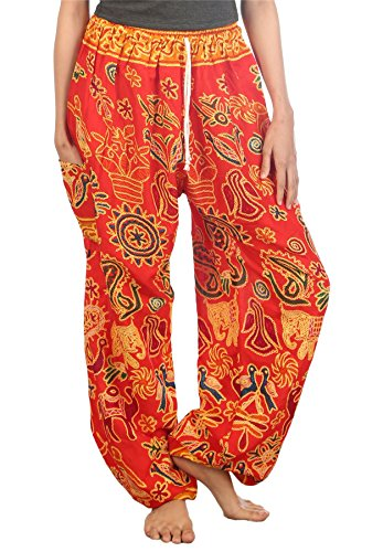 Lofbaz Mujer Elefantes 2 Cordón Harén Boho Pantalones Rojo M