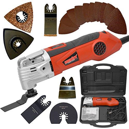 HECHT Elektro-Muktifunktions-Werkzeug 1630 Multi-Tool Oszillierend 19 teiliges Zubehör-Set inkl. Koffer, Sägeblätter und Schleifpapiere (300 Watt, Zubehör)