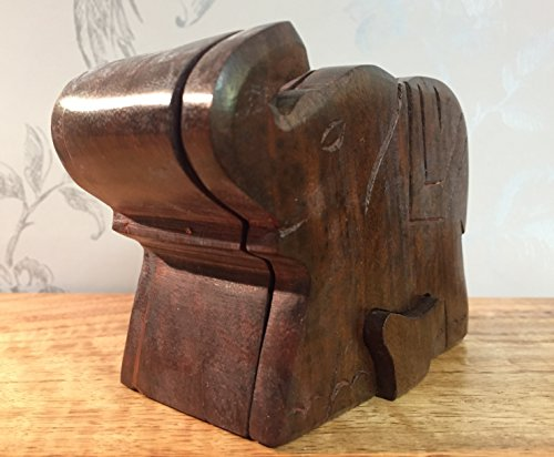 Madera oscura hecha a mano elefante caja de Puzzle
