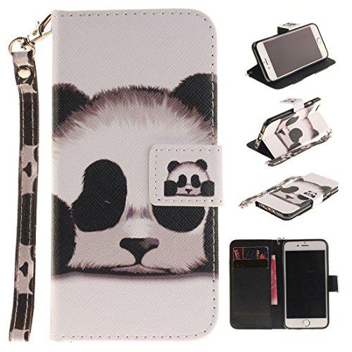 "Apple iPhone 6S Plus Hülle Leder Brieftasche, Folie Stil iPhone 6 Plus 5.5"" Handyhülle Case Flexibel PU Hübsch Original Malerei - Ölgemälde Eule Weiß"