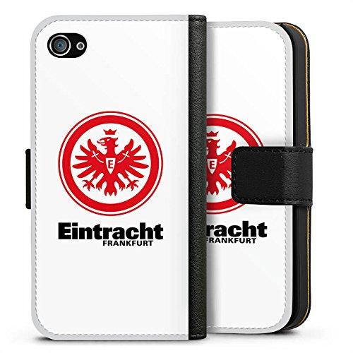 Apple iPhone SE Tasche Hülle Flip Case Eintracht Frankfurt Fanartikel Fußball Sideflip Tasche schwarz