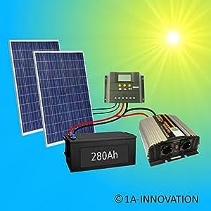 komplette 220v 500w solaranlage t v mit 280ah elektronik. Black Bedroom Furniture Sets. Home Design Ideas