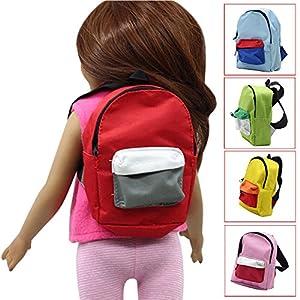 mxjeeio 13 * 9.5cm Puppe Rucksack Doppelgurte Rucksack Schultasche für 18 Zoll American Cute Mini Girl Doll Rucksack Spielzeug für mädchen Spielzeug online bestellen Puppe Reißverschlusstasche