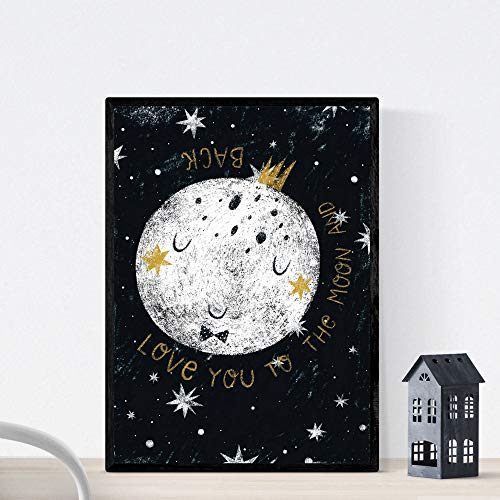 Nacnic Lámina Luna Blanca Estilo nordico Blanco y Negro. Composiciones planetarias Infantiles Papel 250 gr tintas Tamaño A4 Sin Marco