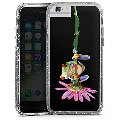 Apple iPhone 7 Bumper Hülle Bumper Case Glitzer Hülle Frosch Flower Blume Bumper Case Glitzer silber