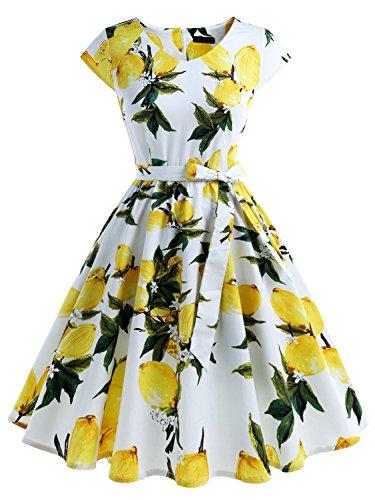IVNIS RS90013 Damenkleid Floral Blumen Muster mit Taschen Vintage Kleider 50jähriger Rockabilly Cap-Sleeve Cocktail Lemon Large