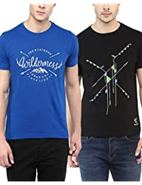 [Sponsored Products]100% Cotton Round Neck Printed Summer T-Shirts For Men Combo Pack By Wilderoo - Royal Blue & Black