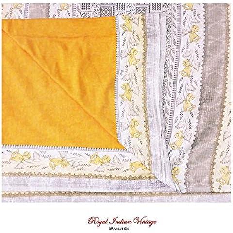 sari naranja indio nave de la vendimia de tela de costura floral sari decoración del hogar impresa crepé 5YD utilizado seda reciclada mujeres cortina cubra tejido envolver el material elaborado arte sarong upcycled