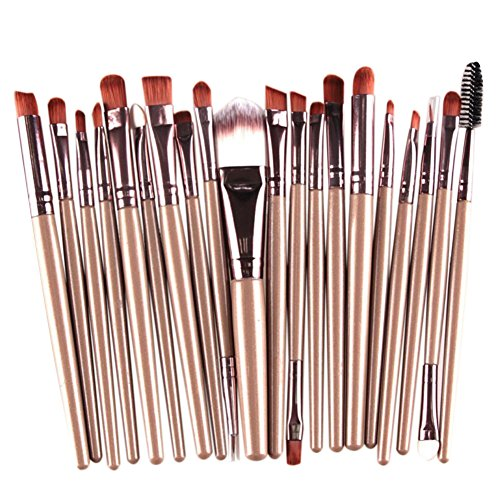 CAOLATOR 20 pcs/set Makeup Brush Set Lidschattenpinsel Grundlagen -Bürste Augenbrauen -Pinsel Kayalpinsel Gold und Braun