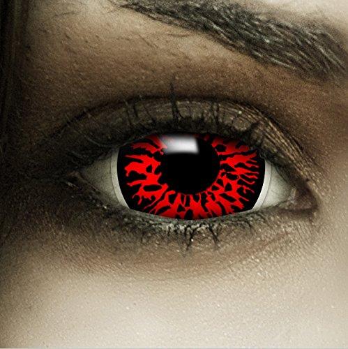 """Mini Sclera Kontaktlinsen""""Dämon"""" + Kunstblut Kapseln + Behälter von FXContacts in rot, weich, ohne Stärke als 2er Pack - farbige lenses perfekt zu Halloween, Karneval, Fasching oder Fastnacht"""