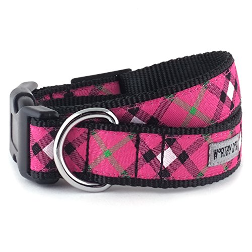 Plaid HOT PINK Hundehalsband, Hot Pink, L (Preppy Plaid)